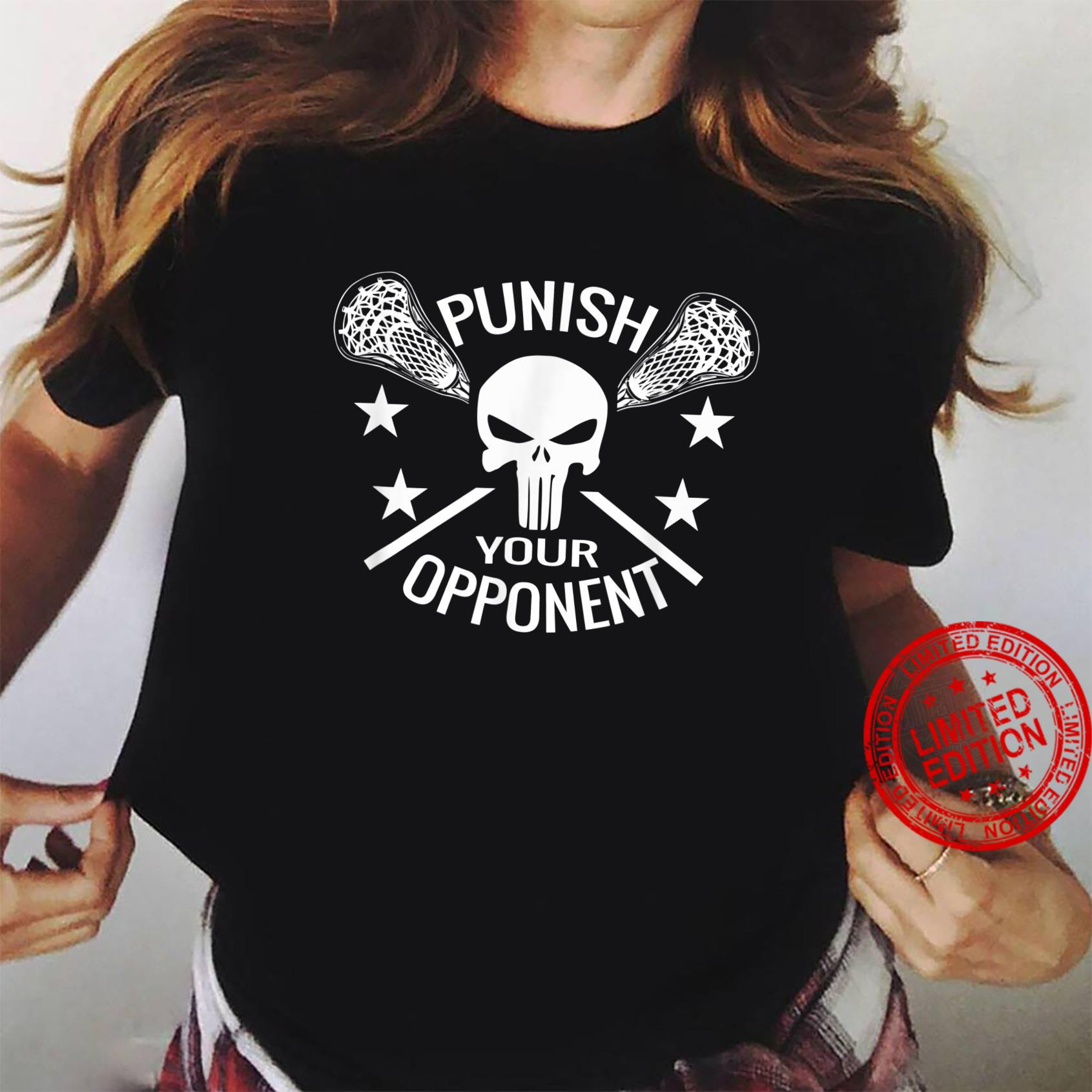 Boys Lacrosse Skull and Sticks Punish Your Opponent Shirt ladies tee