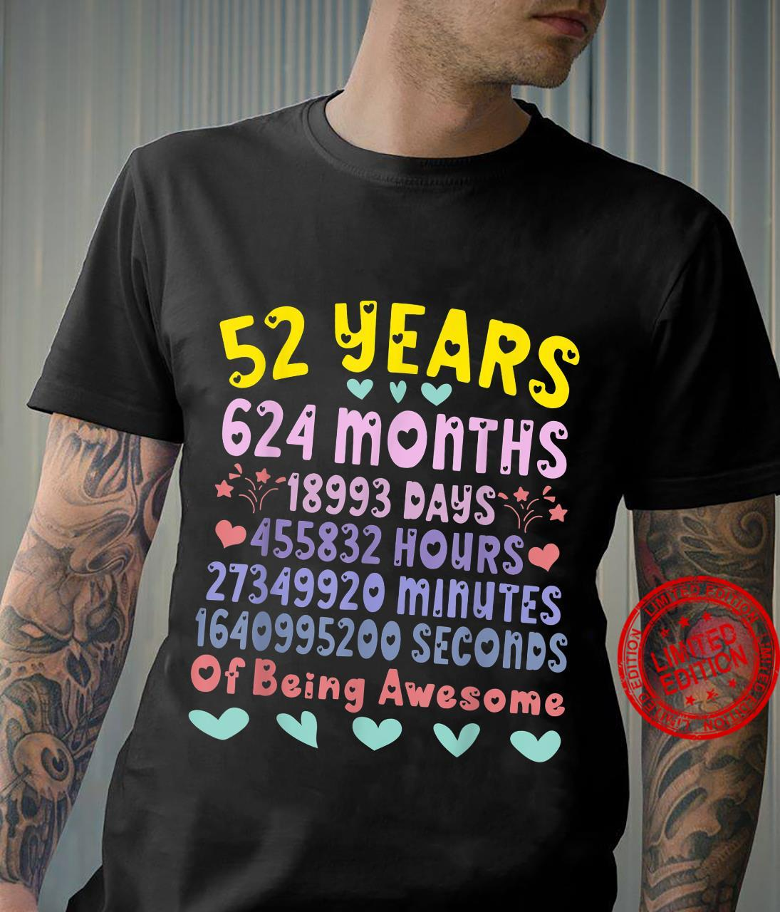 Vintage 52nd Birthday 52 Years Old Bday Party Shirt