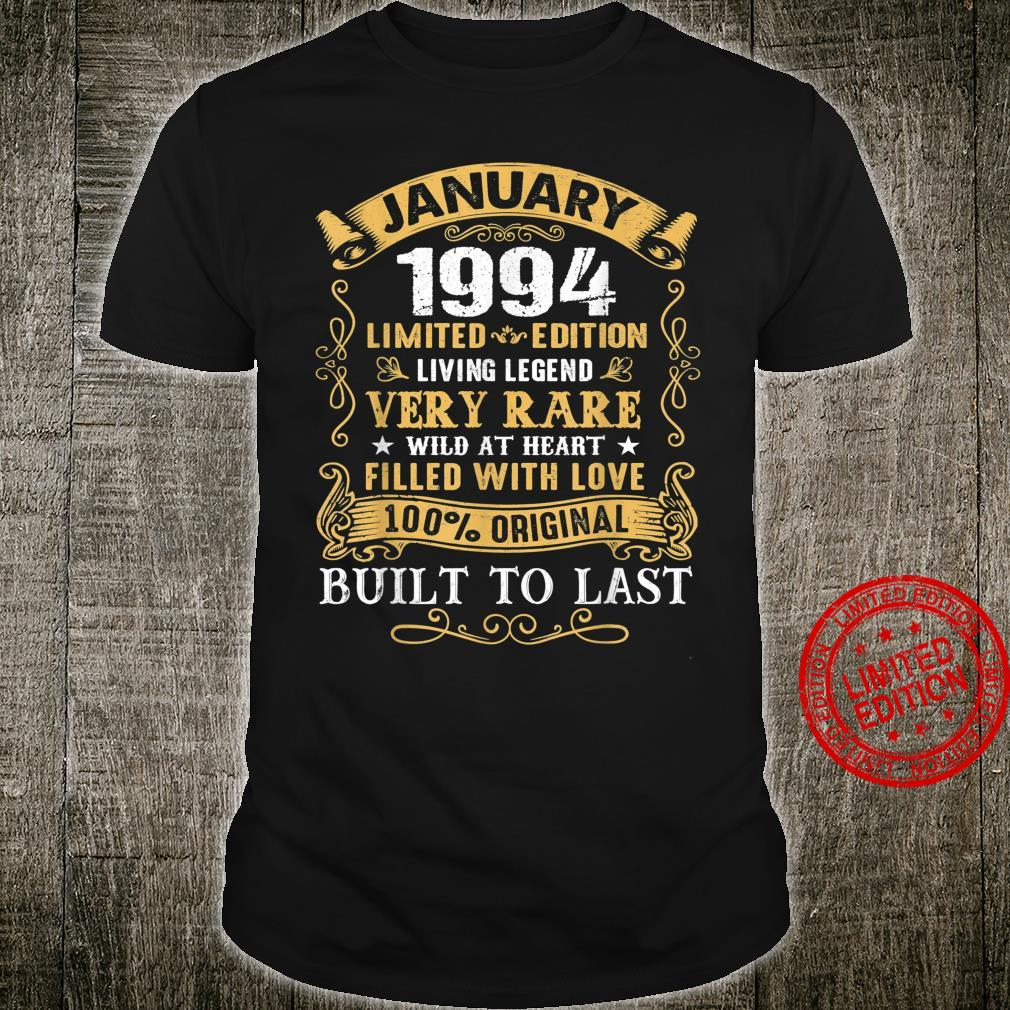 Vintage 27th Birthday January 1994 27 Years Old Shirt