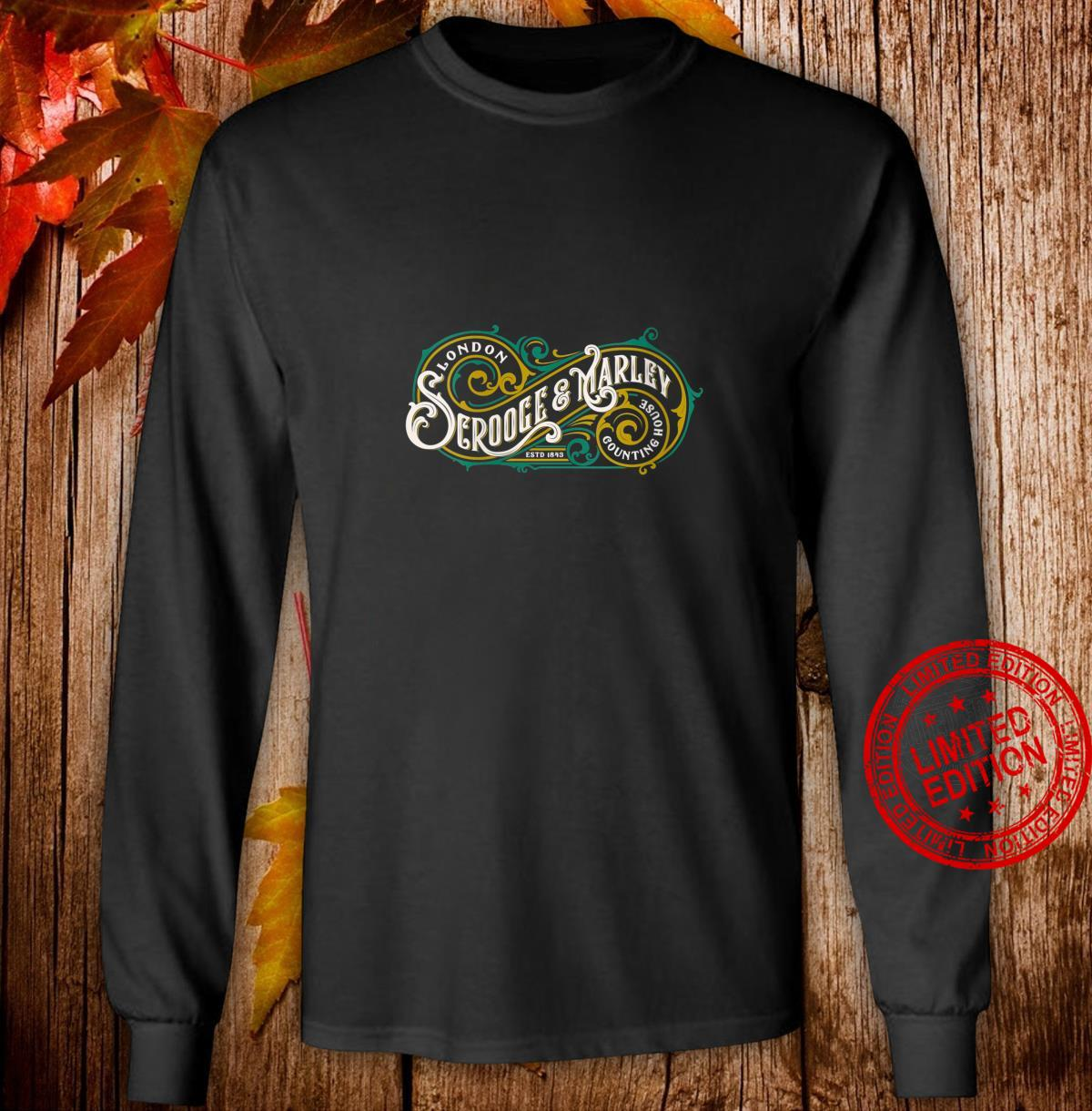 Womens Scrooge and Marley Counting House Christmas Carol Vintage Shirt long sleeved